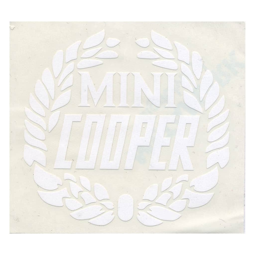 Decal, Mini Cooper Wreath, White
